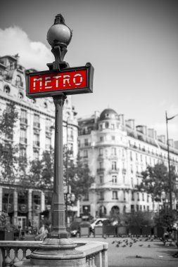 Metro sign for subway transportation in paris