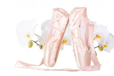 Ballet pointes with orchids on isolated white