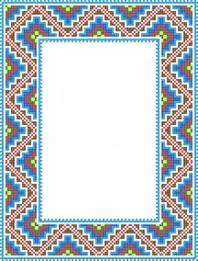 Vector folk Rectangular Frame Cross-stitch blue