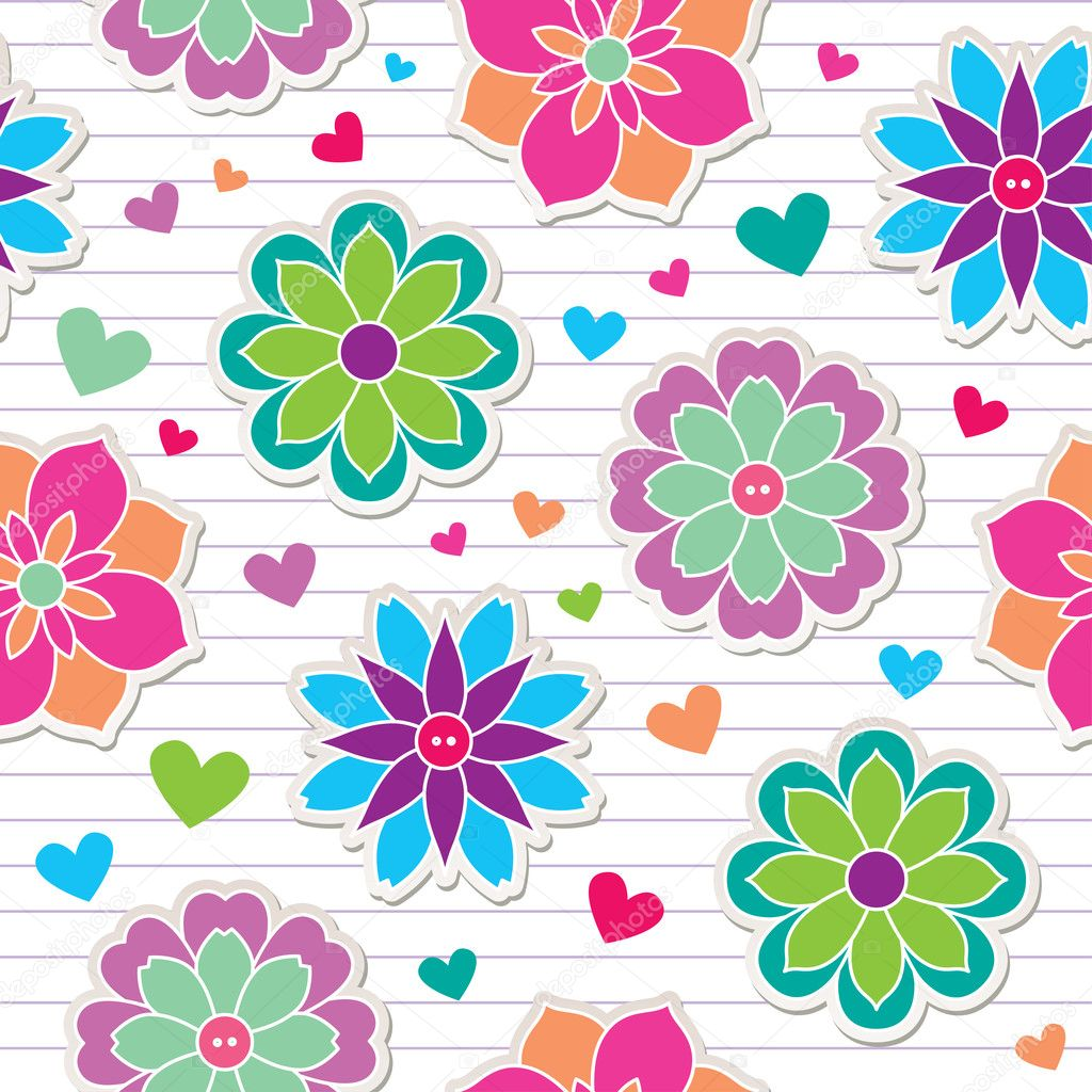 Seamless pattern of flower stickers