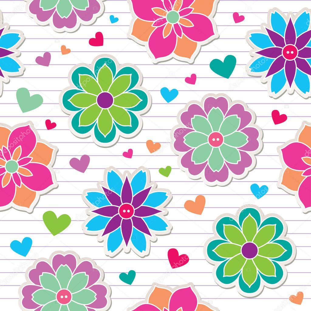 Seamless pattern of flower stickers