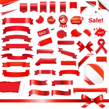 Big Red Ribbons Set, Isolated On White Background, Vector Illustration clip art vector