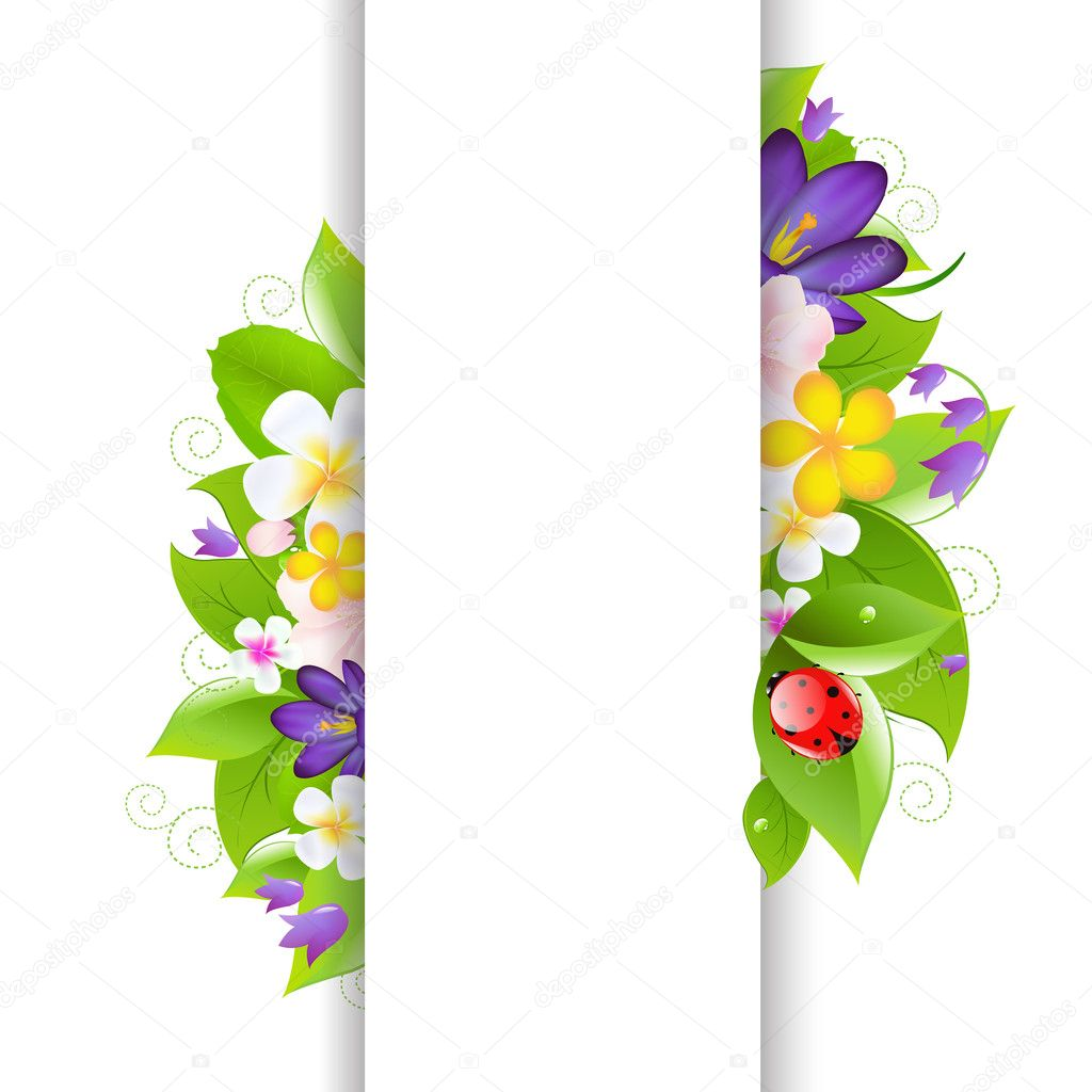 Flowers And Ladybug With Paper