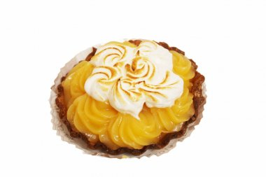 Lemon tart with whipped cream on a white background
