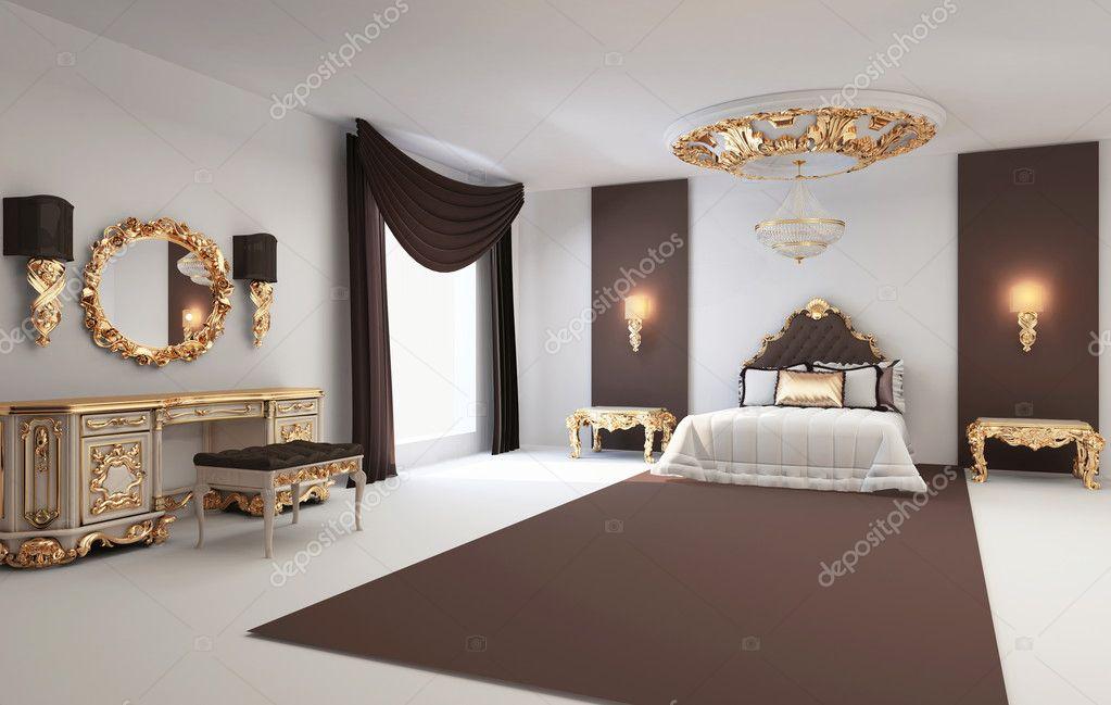 barokke slaapkamer met gouden meubilair in interieur residentie foto van victoriaandrea