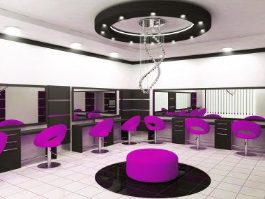 Luxurious interior of a beauty salon with creative ceiling