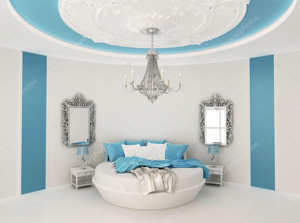 rund säng i barock inredning. lyxiga möbler i blå rummet ...