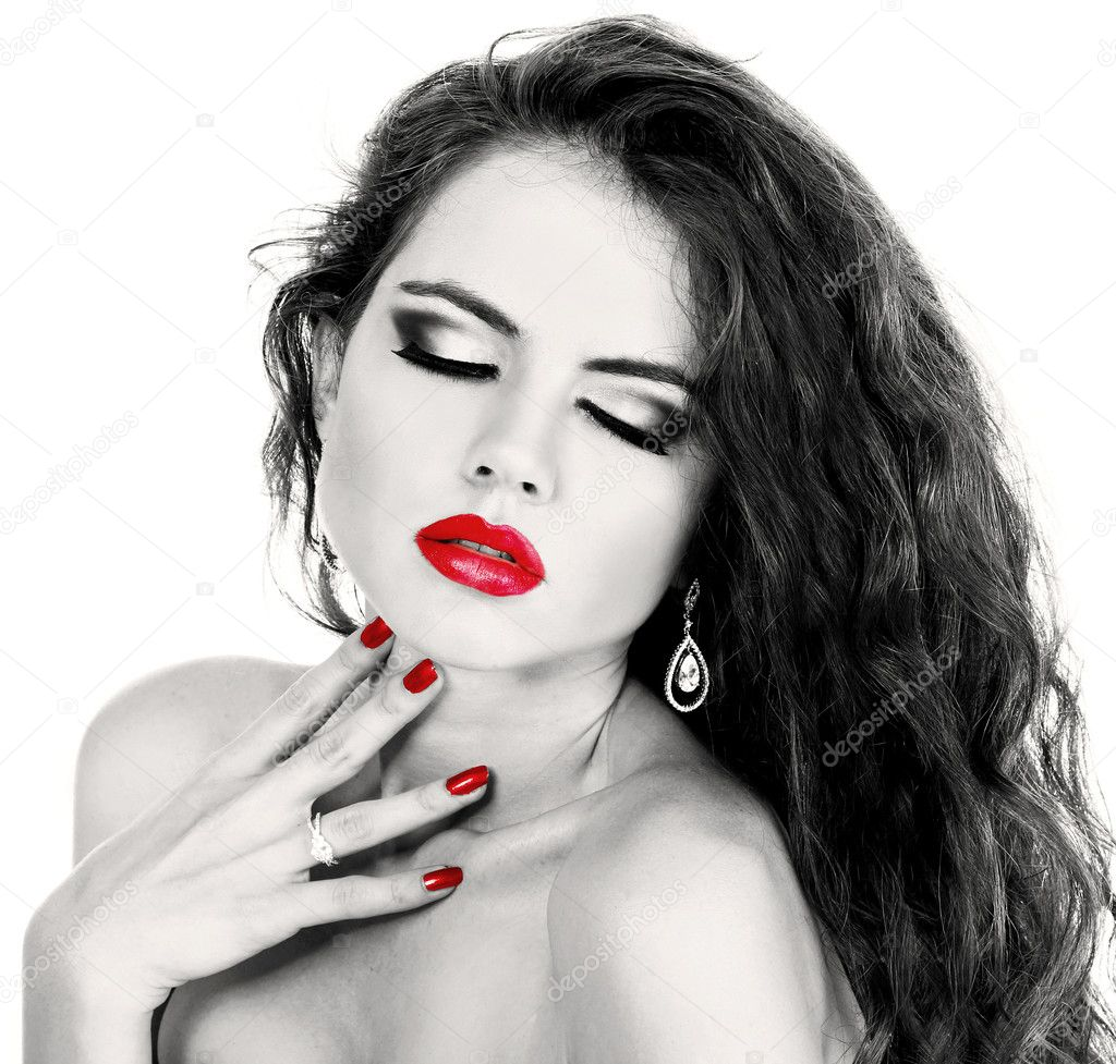 Sexy girl with red lip, black and white portrait
