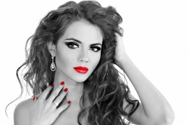 Fashion Brunette . Beautiful Makeup and Healthy Black long curly