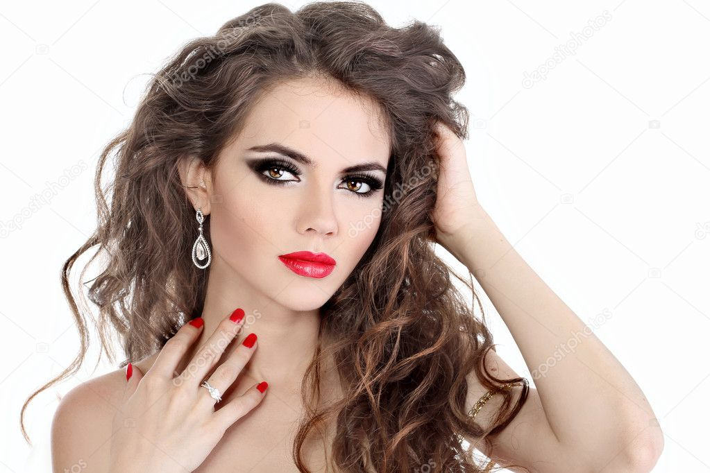 young beautiful woman with red lips and long curly hairs