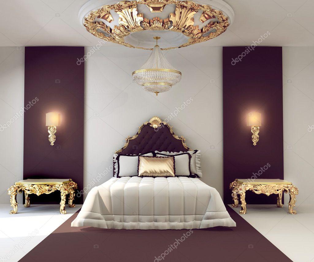 Luxe tweepersoons slaapkamer met gouden meubelen in Koninklijke ...