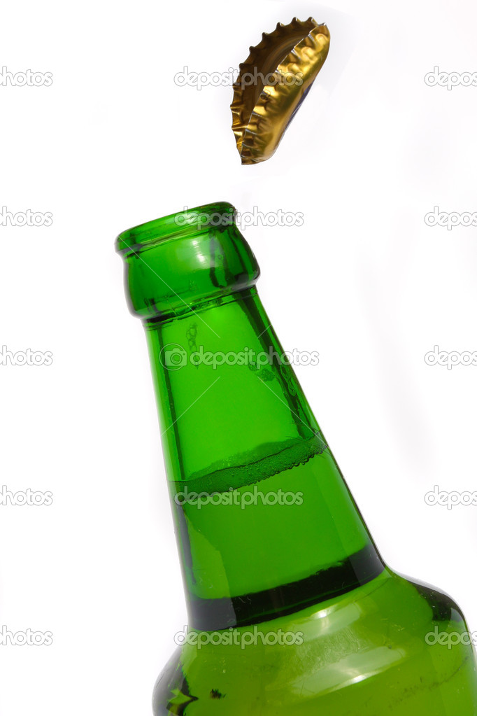 Green beer bottle with a cap open