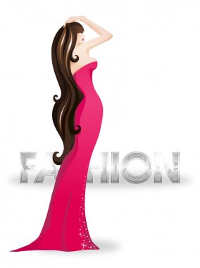 Fashion girl wearing a red dress. Vector illustration. Place for your text