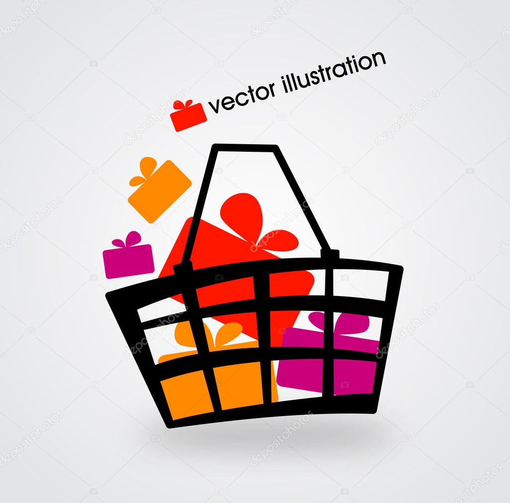 Basket and multicolored gift boxes. Vector illustration.
