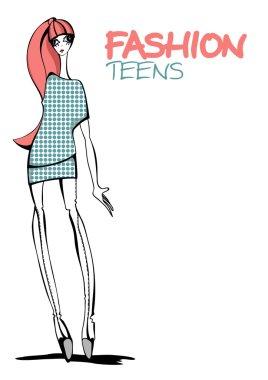 Fashion teen. Vector illustration.