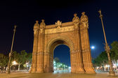 Arc de Triomf at night in Barcelona, Spain