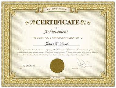 Vector illustration of gold detailed certificate clip art vector