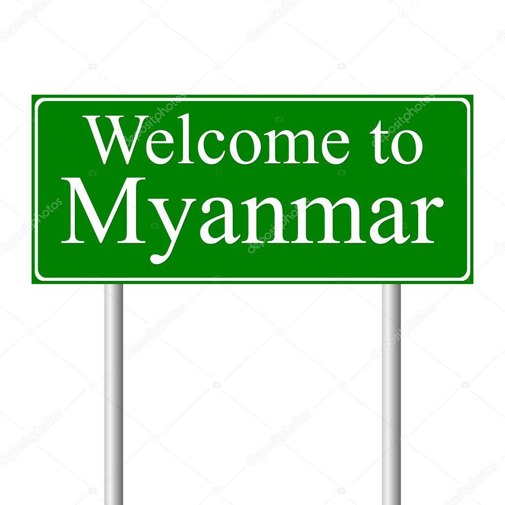 bienvenue au myanmar panneau de signalisation de concept image vectorielle konstsem 8411217. Black Bedroom Furniture Sets. Home Design Ideas