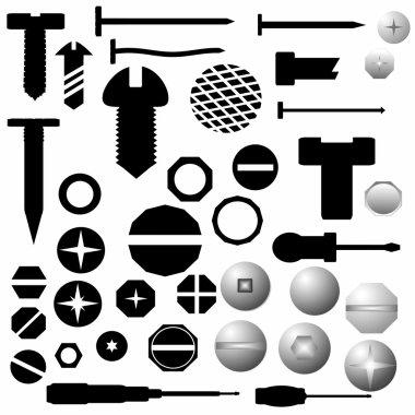 Screw heads, bolts, steel nuts, metal nail, screwdriver