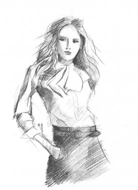 Pencil drawing of a young business lady