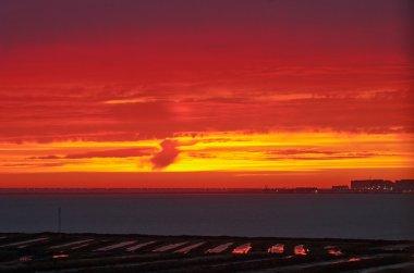 Sunset on the bay of Cádiz