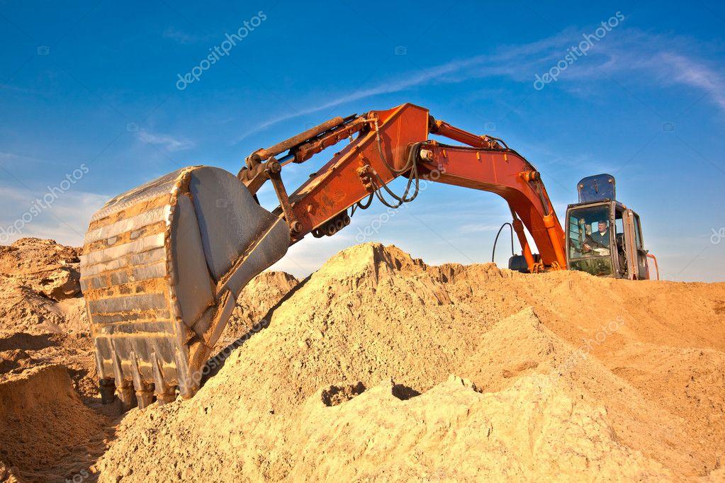 Excavator at sandpit