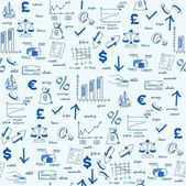 Fotografie Hand Drawn Seamless Finance Icons
