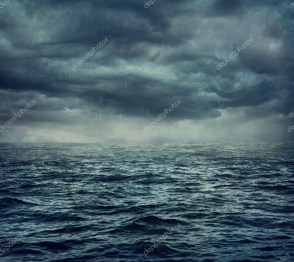 Фотообои Rain over the stormy sea