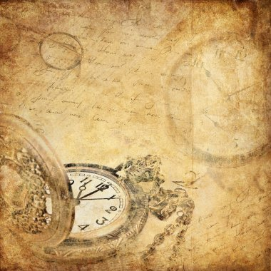 Vintage background with a pocket watch stock vector