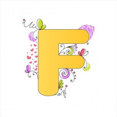 Colorful floral alphabet. Letter F