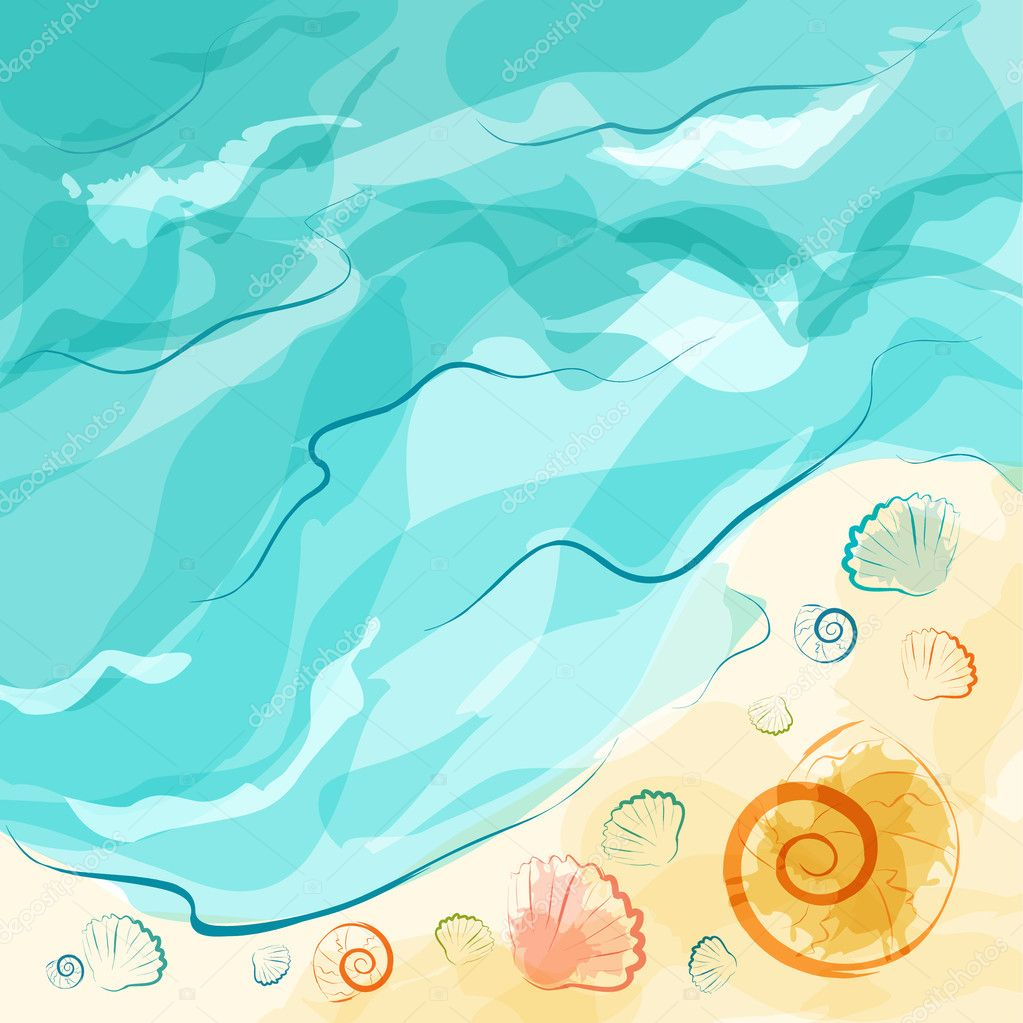 Sea beach with shells for summer design