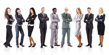 Business team formed of young businessmen standing over a white