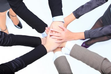 Closeup of successful business women with their hands