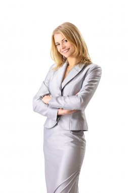 Portrait of a happy young business woman smiling isolated on white background