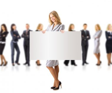Business woman and group holding a banner ad