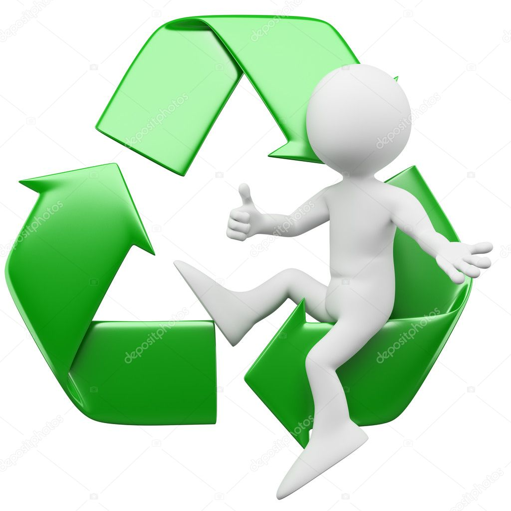 3D man sitting in the recycling symbol