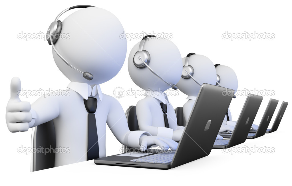 3D Operators working in a call center