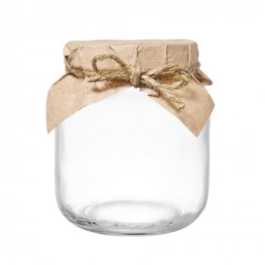 Empty glass jar with packaging paper and rope