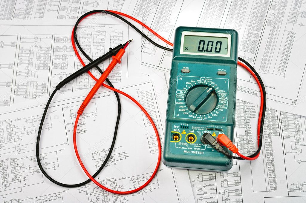 Several schemes of electric and electrical tester — Stock Photo ...
