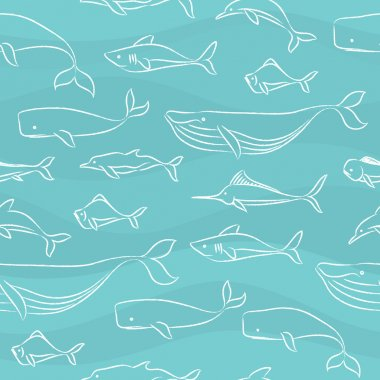 Seamless Doodle Pattern - Big Fishes