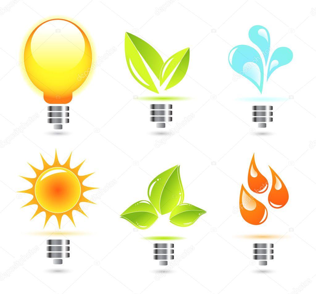 Nature light bulb icon