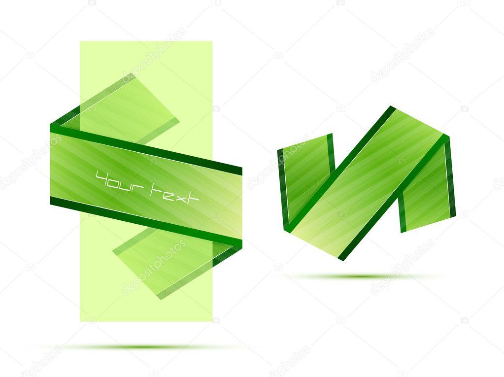 Green translucent banner and ribbon — Stock Vector © akomov