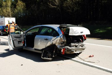 Damaged Car after accident at the higway