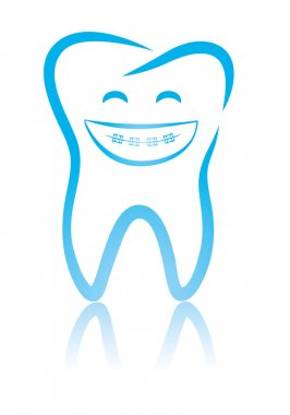 Smiling dental tooth with braces