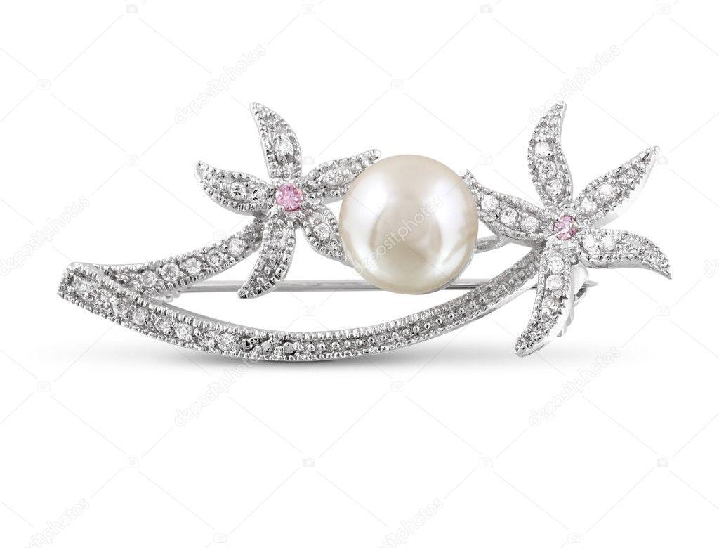 Silver brosch med pärla isolerade — Stockfotografi © dimjul  8098613 3bd833b8abce2