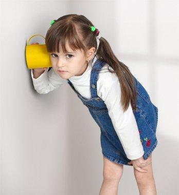 Child girl overhear