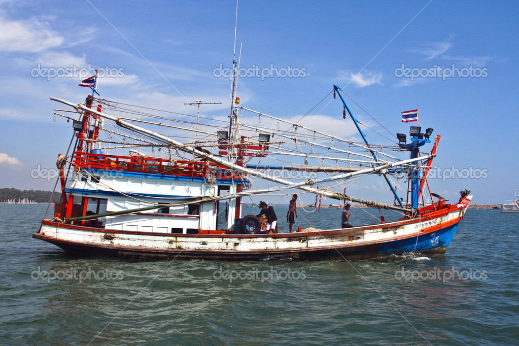 Wooden fisherboat on the daily catch