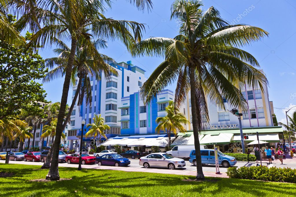 Midday view at Ocean drive in Miami South