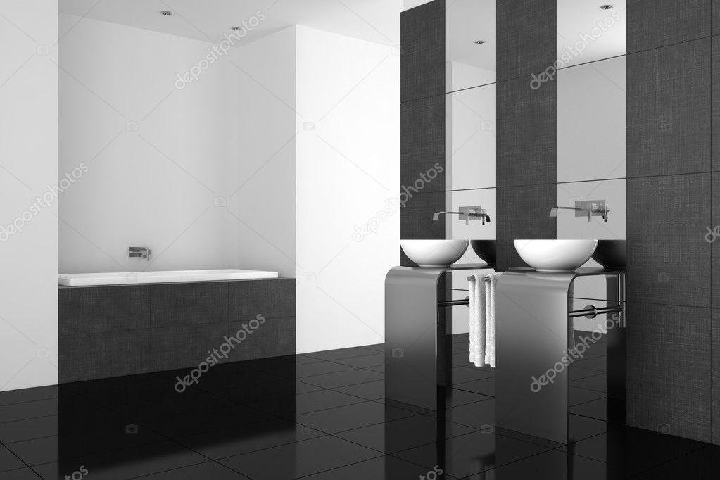 Modernes Badezimmer mit Doppel-Waschbecken und schwarzer Boden ...