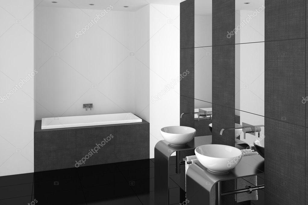modernes badezimmer mit doppel-waschbecken und schwarzer boden, Hause ideen